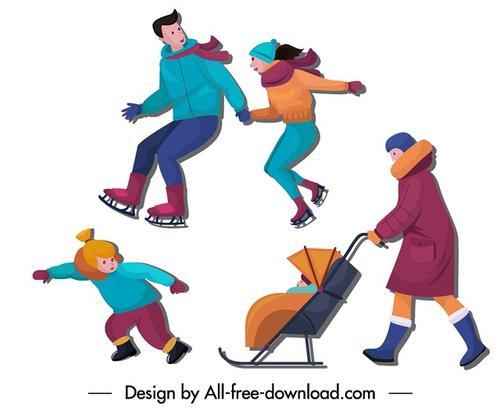 溜冰男女矢量图