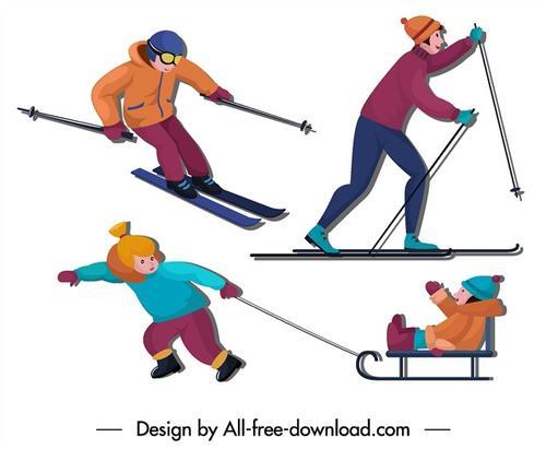 冬季滑雪人物卡通