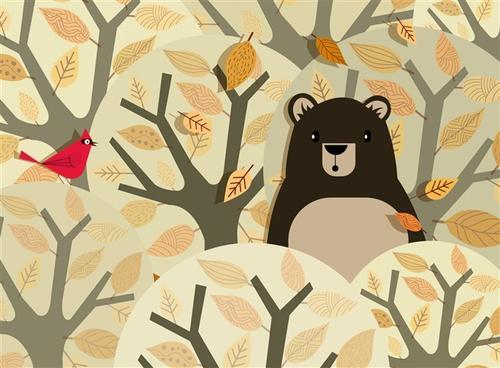 森林卡通小熊