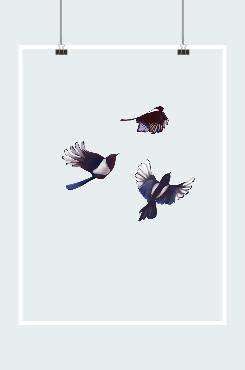 国潮风喜鹊矢量图