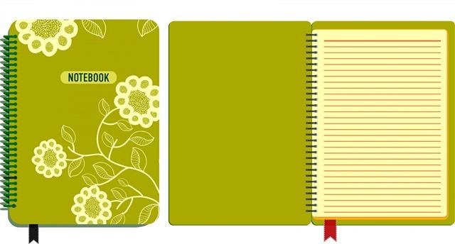 绿色笔记本矢量图