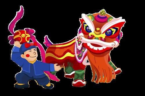 元宵节舞狮矢量图