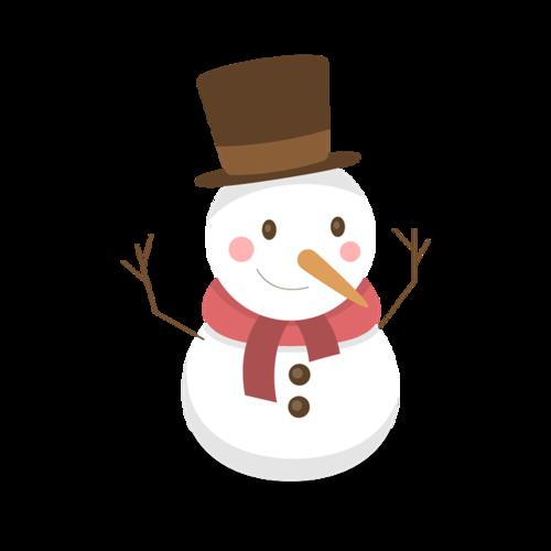 冬天戴帽子的雪人