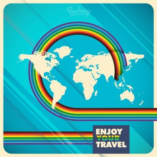 世界旅行矢量背景