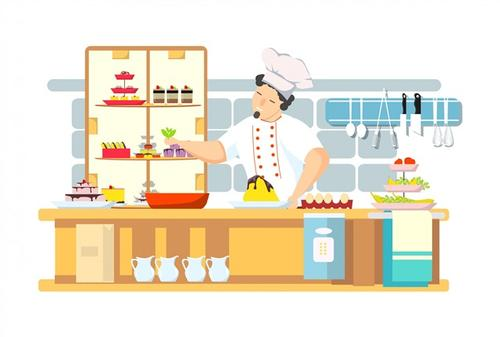 卡通厨师工作图片