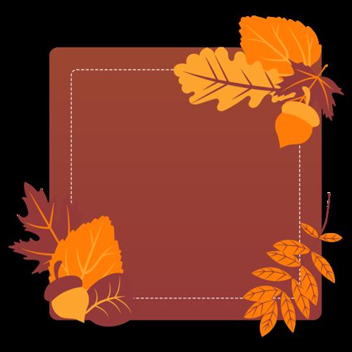 水彩枫叶秋季边框