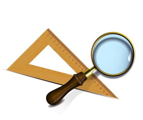 三角尺与放大镜矢量图