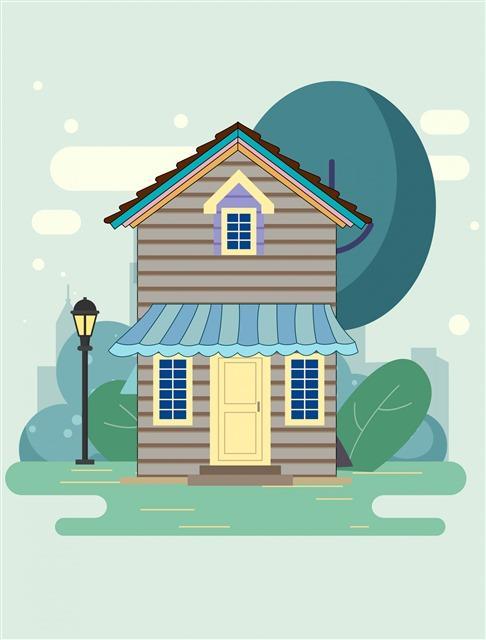 房屋插画图片