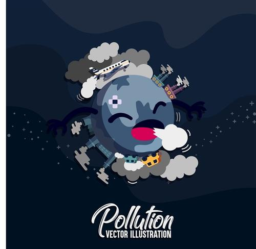 地球污染卡通图片