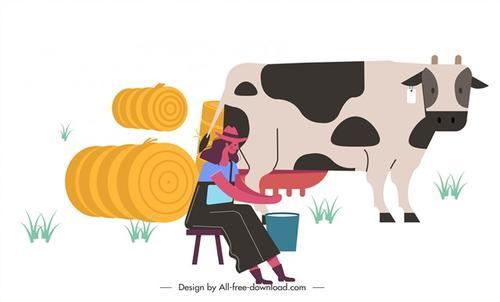 农场挤奶工人
