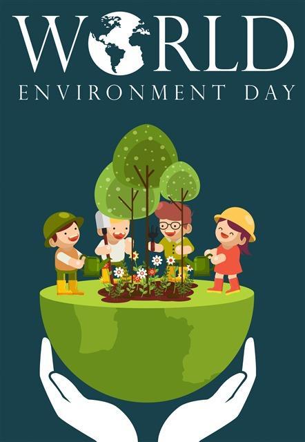 手绘保护环境插画