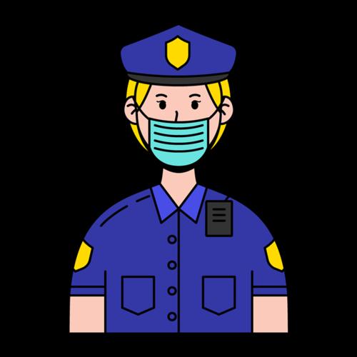 戴口罩警察漫画图片