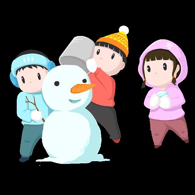 堆雪人卡通画