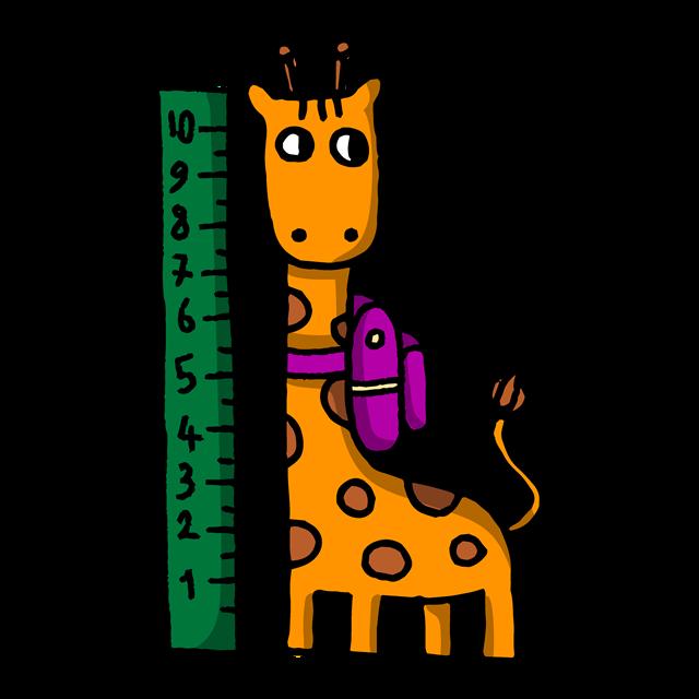 卡通儿童身高测量图