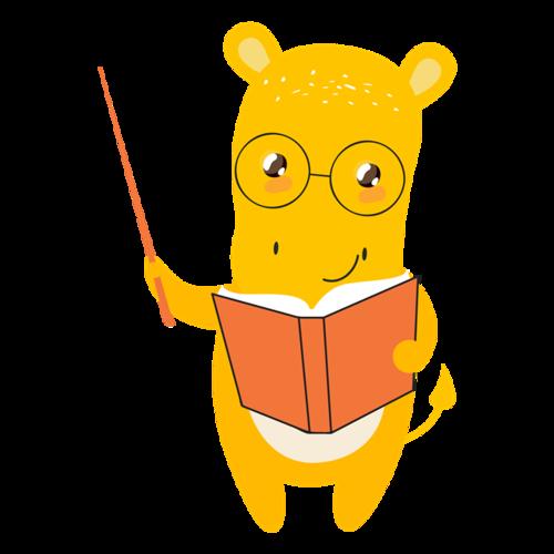 爱学习的动物插画