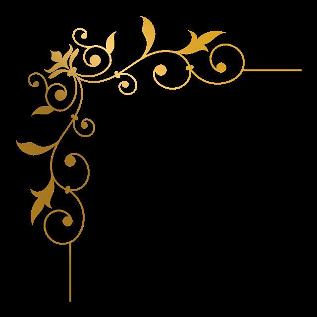 金色花边框