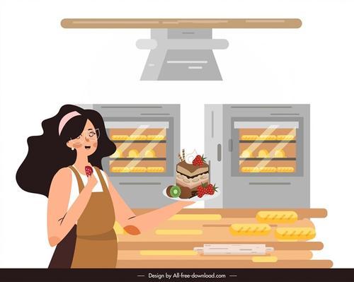 厨房烘焙人物插画