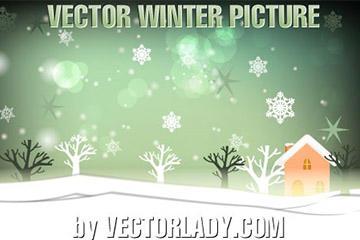 冬季雪景手绘背景图片