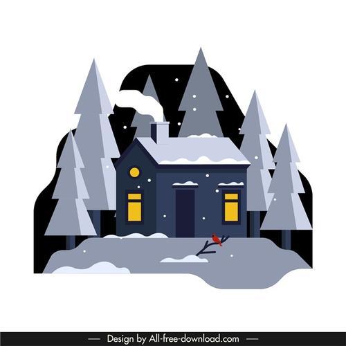 冬日雪景插画