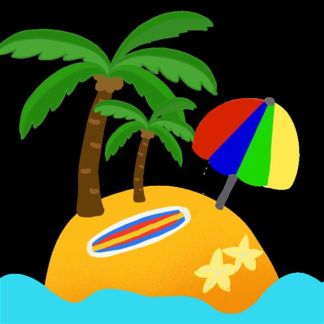 卡通沙滩度假矢量图