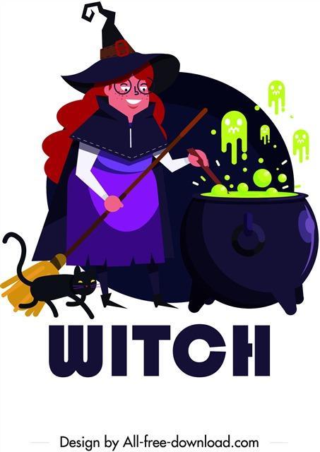 万圣节女巫卡通插画