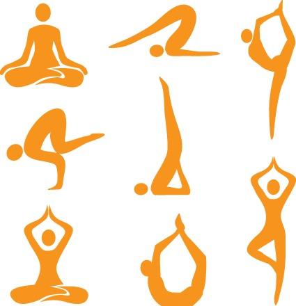 9款瑜伽人物剪影