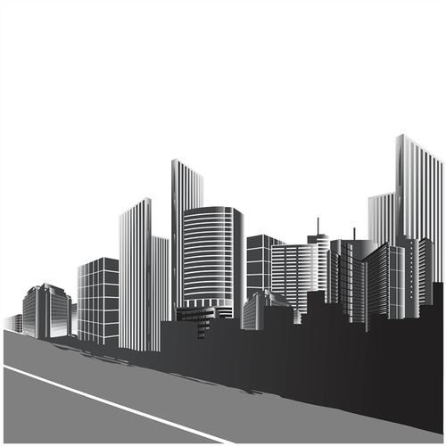 黑白城市背景