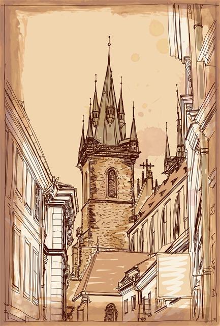 复古手绘建筑图片