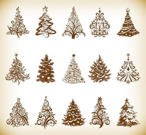 手绘圣诞树装饰图片