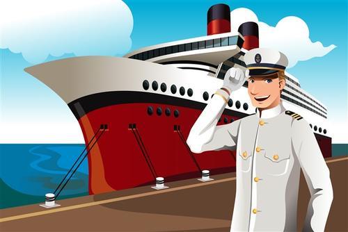 轮船和船长插画