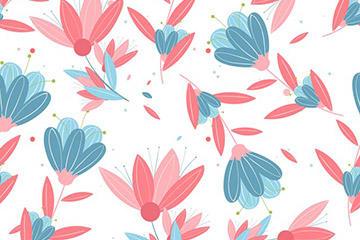 花卉插画无缝背景图