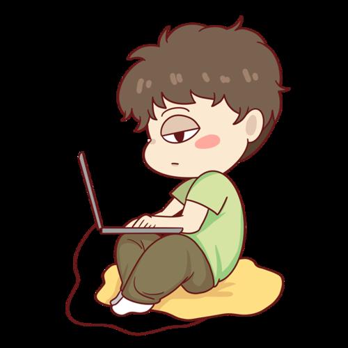熬夜玩电脑的小男孩
