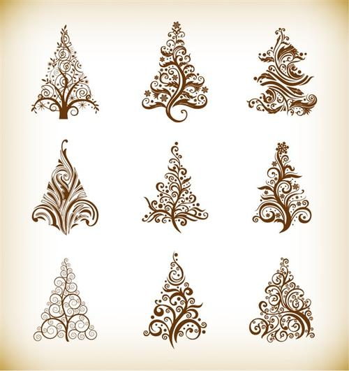 唯美圣诞树图案矢量图