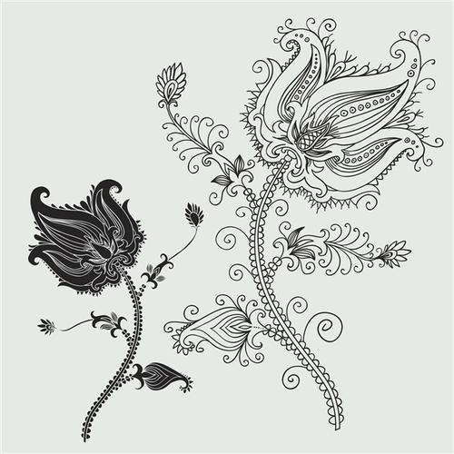 线描玫瑰花纹