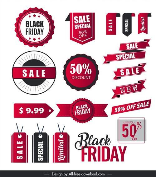 红色黑色星期五促销标签