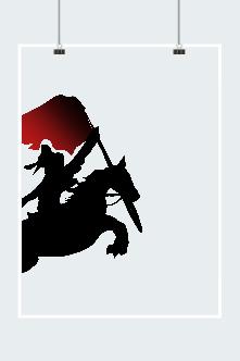 战马红旗剪影矢量图