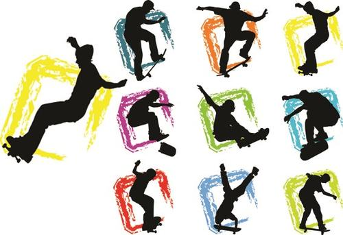 滑板人物动作剪影