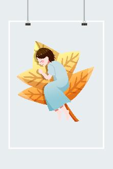 秋天落叶女孩