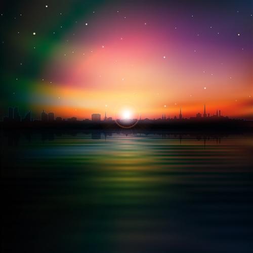 城市喧嚣日落背景