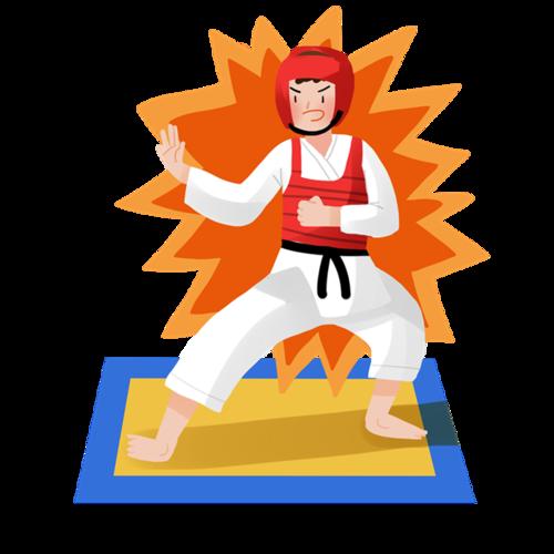 卡通男孩跆拳道图片