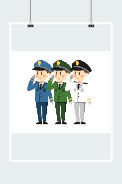 海陆空三军卡通图片