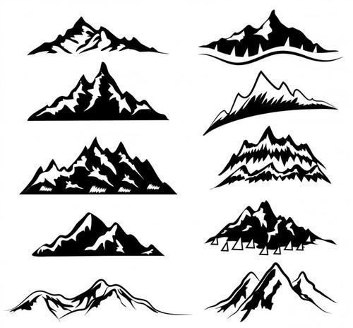 手绘山脉矢量图
