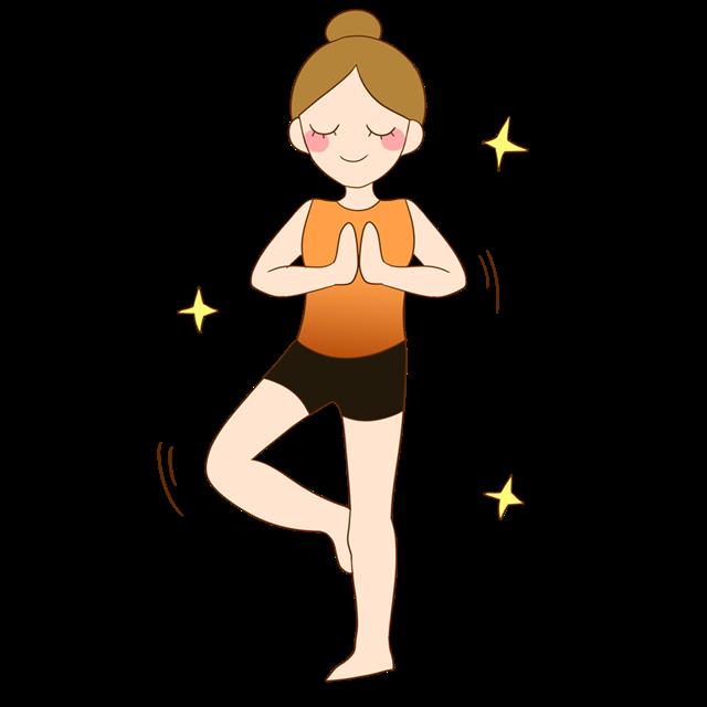 卡通瑜伽女孩