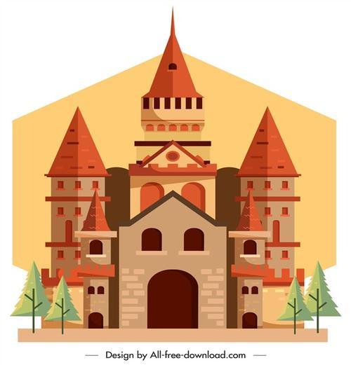古代城堡矢量图
