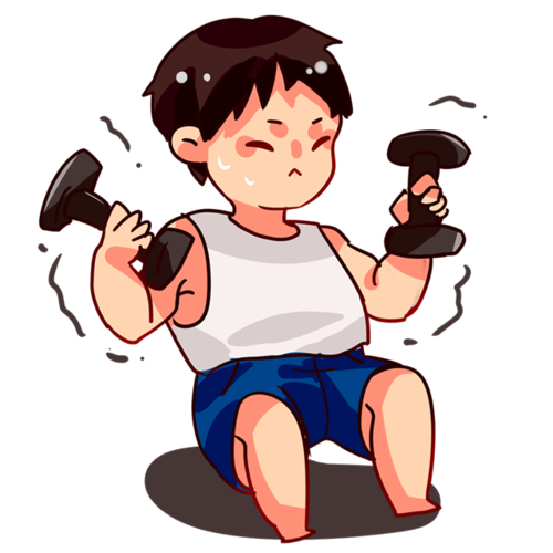 卡通健身男孩