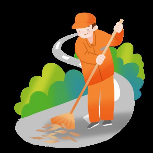 清洁工扫地矢量图