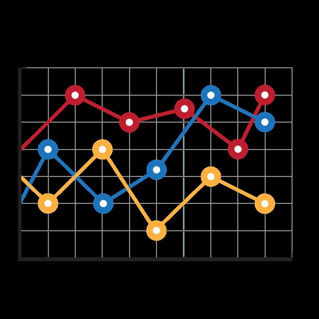 彩色折线统计图PPT元素