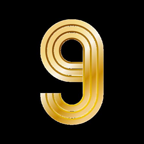 金色倒计时数字9