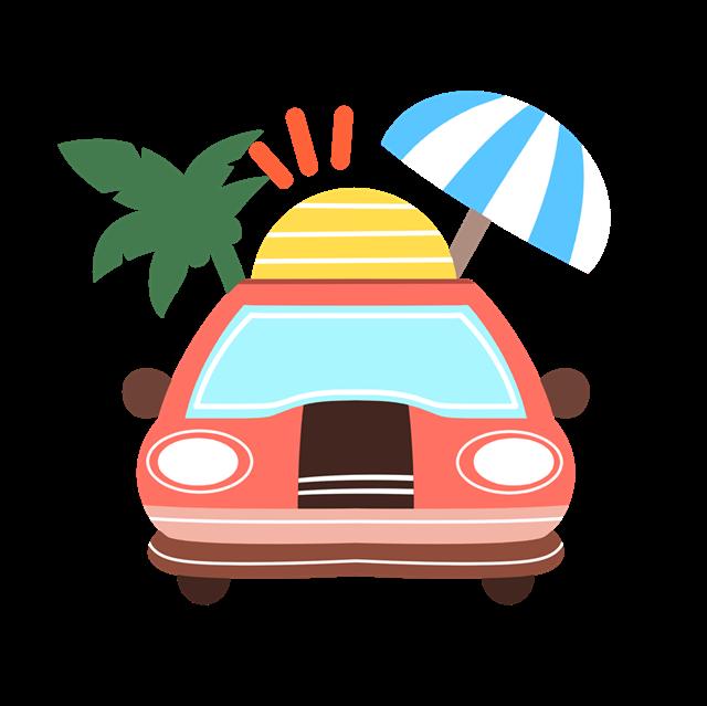自驾旅游插画