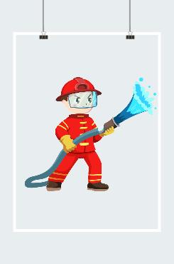 消防战士简笔画